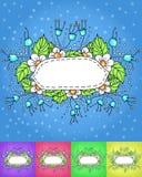 Λεπτό πλαίσιο με τα άσπρα λουλούδια και τα φύλλα σύνολο πολύχρωμου υποβάθρου Στοκ Εικόνες