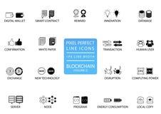 Λεπτό σύνολο εικονιδίων γραμμών Blockchain και cryptocurrency Τέλεια εικονίδια εικονοκυττάρου με 1 πλάτος γραμμών px για τη βέλτι ελεύθερη απεικόνιση δικαιώματος