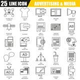Λεπτό σύνολο εικονιδίων γραμμών καναλιών μέσων διαφήμισης Στοκ Εικόνες