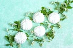 Λεπτό σύντομο χρονογράφημα marshmallows και των ανθών κερασιών Στοκ Εικόνα