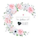 Λεπτό floral διανυσματικό στρογγυλό πλαίσιο με τα λουλούδια στο λευκό ελεύθερη απεικόνιση δικαιώματος