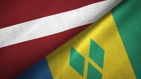 Λετονία και Άγιος Βικέντιος και Γρεναδίνες δύο υφαντικό ύφασμα σημαιών ελεύθερη απεικόνιση δικαιώματος
