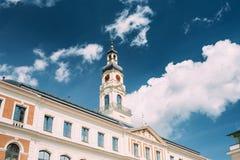 Λετονία Ρήγα Πύργος ρολογιών του διάσημου ορόσημου - παλαιά Ρήγα Δημαρχείο Στοκ φωτογραφία με δικαίωμα ελεύθερης χρήσης