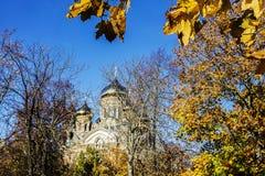 Λετονία Liepajas SV Ορθόδοξος καθεδρικός ναός του Nicholas του autum θάλασσας Στοκ Εικόνες