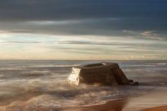 Λετονική ακτή της θάλασσας της Βαλτικής με Blockhouses Στοκ Φωτογραφία