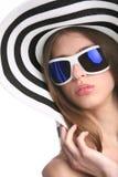 λευκή γυναίκα καπέλων Στοκ Φωτογραφία