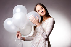 λευκή γυναίκα στούντιο μπαλονιών Στοκ εικόνα με δικαίωμα ελεύθερης χρήσης