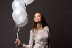 λευκή γυναίκα στούντιο μπαλονιών Στοκ εικόνες με δικαίωμα ελεύθερης χρήσης