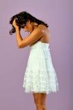 λευκή γυναίκα φορεμάτων Στοκ φωτογραφίες με δικαίωμα ελεύθερης χρήσης