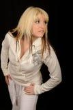 λευκή γυναίκα φορεμάτων Στοκ Φωτογραφίες