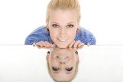 λευκή γυναίκα χαμόγελο&u Στοκ Εικόνες