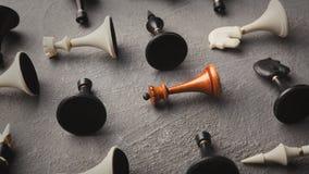Λευκιά βασίλισσα που βρίσκεται μεταξύ άλλου σκακιού Στοκ Εικόνα
