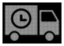 Λευκιά ημίτοή Shipment Schedule Van Icon διανυσματική απεικόνιση