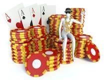 Λευκοί άνθρωποι με τα σημεία χαρτοπαικτικών λεσχών και τις κάρτες παιχνιδιού Στοκ Φωτογραφίες