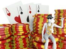 Λευκοί άνθρωποι με τα σημεία χαρτοπαικτικών λεσχών και τις κάρτες παιχνιδιού Στοκ Εικόνα