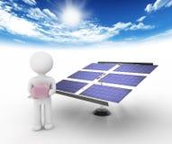 Λευκοί χαρακτήρας και ηλιακή ενέργεια Στοκ Φωτογραφία