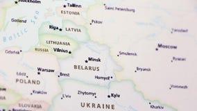 Λευκορωσία σε έναν χάρτη απόθεμα βίντεο