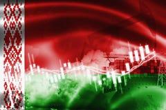 Λευκορωσική σημαία, χρηματιστήριο, οικονομία ανταλλαγής και εμπόριο, παραγωγή πετρελαίου, σκάφος εμπορευματοκιβωτίων στην επιχείρ διανυσματική απεικόνιση
