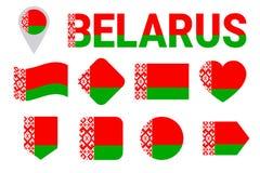 Λευκορωσική συλλογή σημαιών Της Λευκορωσίας σημαίες καθορισμένες Διανυσματικά οριζόντια απομονωμένα εικονίδια με το κρατικό όνομα διανυσματική απεικόνιση