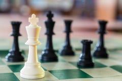 Λευκός βασιλιάς σκακιού που περιβάλλεται Στοκ Εικόνες