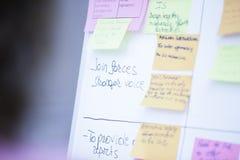 Λευκός πίνακας διαγραμμάτων κτυπήματος με τις χρωματισμένες Post-it σημειώσεις στοκ φωτογραφίες