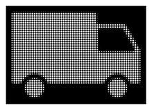 Λευκός Halftone Cargo Van Icon ελεύθερη απεικόνιση δικαιώματος