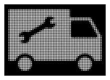 Λευκός Halftone Repair Van Icon ελεύθερη απεικόνιση δικαιώματος