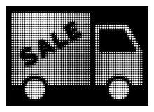Λευκός Halftone Sale Van Icon ελεύθερη απεικόνιση δικαιώματος
