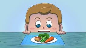 Λευκό αγόρι που εξετάζει τα λαχανικά Στοκ Φωτογραφία