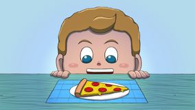 Λευκό αγόρι που εξετάζει τη φέτα πιτσών Στοκ Εικόνες
