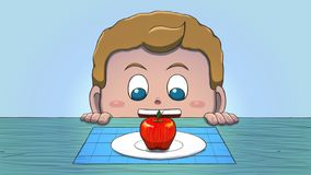 Λευκό αγόρι που εξετάζει τη Apple Στοκ Εικόνα