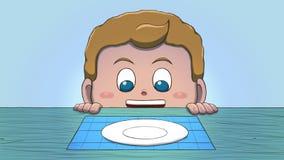 Λευκό αγόρι που εξετάζει το κενό πιάτο Στοκ εικόνες με δικαίωμα ελεύθερης χρήσης