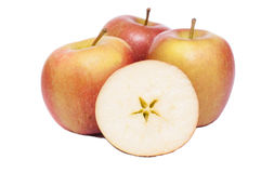 λευκό ανασκόπησης μήλων braeburn στοκ εικόνες