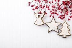 λευκό απομόνωσης ντεκόρ Χριστουγέννων χαιρετισμός Χριστουγέννων καρτών Χριστούγεννα συμβόλων Στοκ εικόνα με δικαίωμα ελεύθερης χρήσης