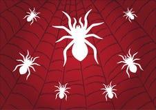 Λευκό αραχνών στο κόκκινο υπόβαθρο ιστών αράχνης r διανυσματική απεικόνιση