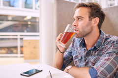 Λευκό αρσενικό που κοιτάζει από τη κάμερα ρουφώντας γουλιά γουλιά το τσάι του Στοκ εικόνα με δικαίωμα ελεύθερης χρήσης