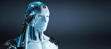 Λευκό αρσενικό cyborg που σκέφτεται και σχετικά με την επικεφαλής τρισδιάστατη απόδοσή του απεικόνιση αποθεμάτων