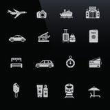 Λευκό εικονιδίων ταξιδιού στη μαύρη οθόνη Στοκ Εικόνα