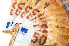 λευκό 50 ευρο- τραπεζογραμματίων Στοκ Εικόνα