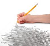 λευκό κακογραφίας μολυβιών χεριών Στοκ Εικόνες