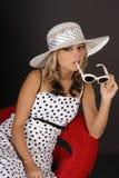 λευκό καπέλων κοριτσιών Στοκ εικόνες με δικαίωμα ελεύθερης χρήσης