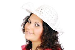 λευκό καπέλων κοριτσιών &omic στοκ φωτογραφία με δικαίωμα ελεύθερης χρήσης