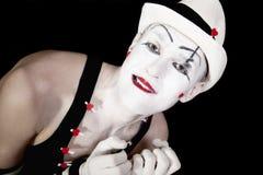 λευκό καπέλων μορφασμού mime Στοκ εικόνα με δικαίωμα ελεύθερης χρήσης