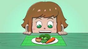Λευκό κορίτσι που εξετάζει τα λαχανικά Στοκ Φωτογραφίες