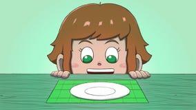 Λευκό κορίτσι που εξετάζει το κενό πιάτο Στοκ εικόνα με δικαίωμα ελεύθερης χρήσης