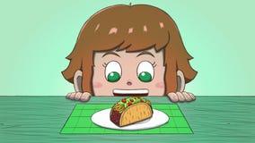 Λευκό κορίτσι που εξετάζει Taco Στοκ Φωτογραφία