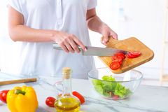 Λευκό κορίτσι που προετοιμάζει τη σαλάτα από τα φρέσκα λαχανικά Στοκ εικόνες με δικαίωμα ελεύθερης χρήσης
