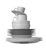 λευκό κουζινών πιάτων Στοκ εικόνες με δικαίωμα ελεύθερης χρήσης