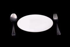 λευκό κουταλιών πιάτων δ&io Στοκ φωτογραφία με δικαίωμα ελεύθερης χρήσης