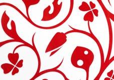 Λευκό με το κόκκινο υπόβαθρο ταπετσαριών σχεδίων φαντασίας λουλουδιών Στοκ Εικόνα